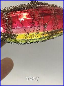 Antique Victorian German Mercury Glass Christmas Ornament Tinsel Zeppelin Rare