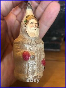 Antique Victorian Glass Paper Scrap Santa CHRISTMAS Ornament