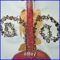 Antique Victorian Wire Wrap Scrap Angel Christmas Ornament