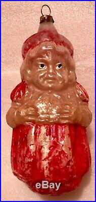 Antique Vintage 4 Mrs. Santa Claus Glass German Figural Christmas Ornament