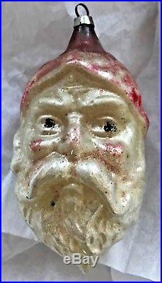 Antique Vintage 4 Santa Claus Face Glass Figural German Christmas Ornament