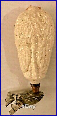 Antique Vintage Angel W Paper Face On Clip German Glass Christmas Ornament