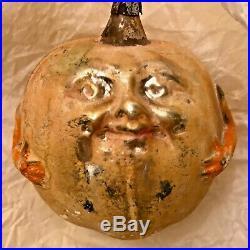 Antique Vintage Apple Face Man W Arms Glass German Figural Christmas Ornament