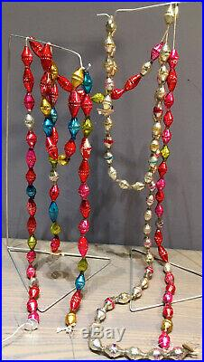 Antique Vintage Barrel shaped 120 inch Christmas garland 3 Strands Glass beads