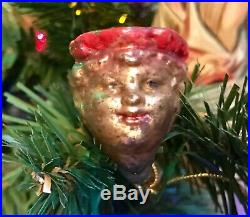 Antique Vintage Boy With Curly Hair Pipe Figural Christmas Ornament German