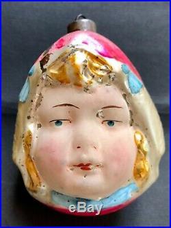 Antique Vintage Dutch Girl Flesh Face Glass German Figural Christmas Ornament