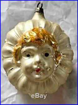 Antique Vintage Embossed Girls Face In A Daisy German Glass Christmas Ornament
