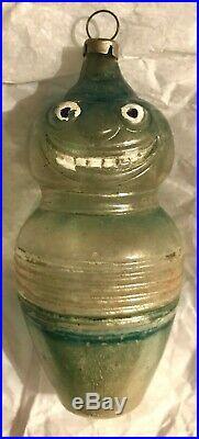 Antique Vintage Green Bowling Pin Man German Glass Figural Christmas Ornament