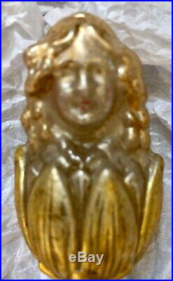 Antique Vintage Lady In Flower On Clip Figural German Glass Christmas Ornament