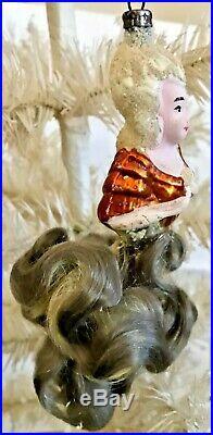Antique Vintage Marie Antoinette Flesh Face Glass German Christmas Ornament