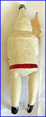 Antique Vintage Santa Annealed Legs Paper Face German Glass Christmas Ornament