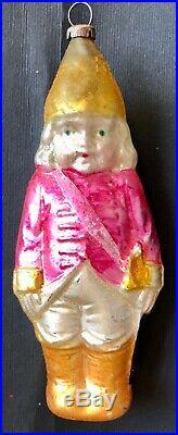 Antique Vintage Soldier Girl Sash Sword Glass German Figural Christmas Ornament