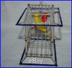 Antique vintage German christmas ornament birdcage with 2 birds