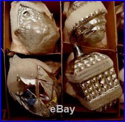 BEAUTIFUL 12 Vintage Mercury Glass XMAS Ornaments GLITTER SILVER
