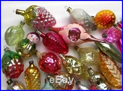 Big lot 52 Vintage USSR Glass Russian Christmas Xmas Ornaments Tree Decorations