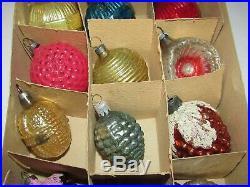 Box 12 Antique Feather Tree Xmas Ornaments Mercury Glass Bumpy Ribbed Indent etc