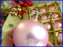 Box 12 Poland Pink Satin Glass Vtg Xmas Ornaments Shiny Brite EASTER photos pick