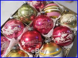 Box 12 Vtg Pink Shiny Brite Stencil Mica Glass Xmas Ornaments Santa Sleigh Merry