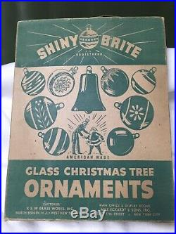 Box of 12 Vtg UFO Atomic Age Spaceship Shiny Brite Christmas Tree Ornaments MCM