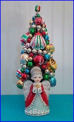 Christmas Bottle Brush Tree Vintage Angel Planter & Vintage Glass Ornaments