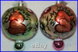 Christopher Radko Glass Christmas Ornaments Pair of 2 Vintage Fruit Drops