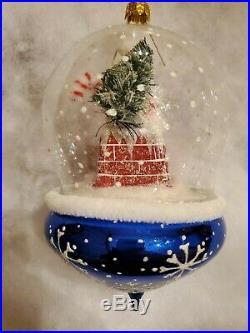 Christopher Radko Midnight Visit Glass Santa Globe Christmas Ornament