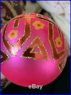 Christopher Radko Pink Tiffany Blown Glass Ball Christmas Ornament