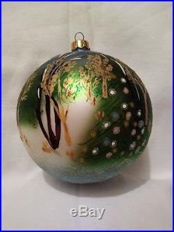Christopher Radko Winter Forest with Christmas Tree Blown Glass Ball Ornament 5.5