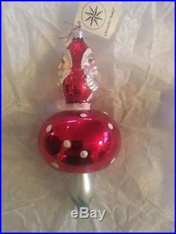 Christopher radko vintage glass christmas ornaments 1993 Mushroom Santa, signed