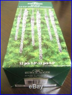 Clear Glass Icicle Ornaments Set Of 24 Christmas Tree Decoration Xmas Home D