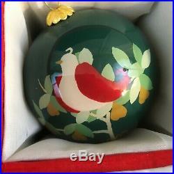 Dillards 12 Days of Christmas Ornaments Set Glass Balls Hand Painted Interiors