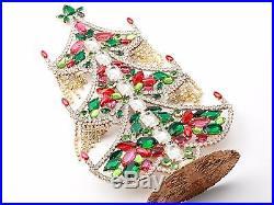 Extra large glass rhinestone Czech vintage standing Christmas tree ornament