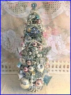 Fabulous 14 Aqua Bottlebrush Xmas Tree Rhinestone Jewelry & Vtg Glass Ornaments