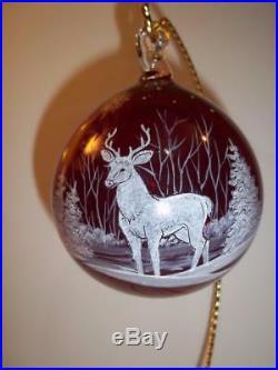 Fenton Glass Red Deer Buck Blown Christmas Ornament NFGS 2017 Susan Bryan