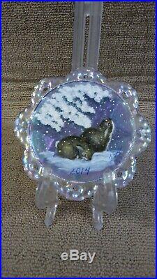 Fenton Xmas Clear Irridescet Ornament Extremely Rare Ltd #3/5 2014 Rabbits
