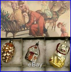 German Antique Figural Blown Glass Feather Tree Xmas Ornaments 1930s Box of 12