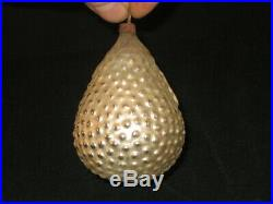 German Antique Glass Bumpy Pear Embossed Scarub Figural Christmas Ornament 1910s