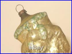 German Antique Glass Figural Santa Christmas Ornament Vintage Decoration 1900's