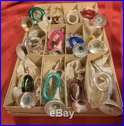 German Antique Mercury Glass Figural Bugle Horn Vtg Christmas Ornament Mica Lot