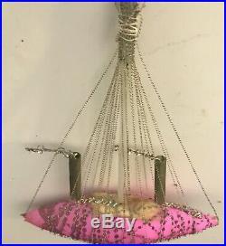 Gorgeous Antique Prewar II Mercury Glass Christmas Ornament Pink Boat Vintage