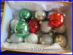 HUGE LOT 75 Vtg Christmas Ornaments Glass Indent Teardrops Shiny Brite Glitter