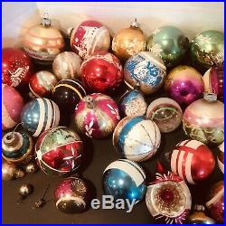 Huge Lot Assortment Of Vintage Mercury Glass Christmas Ornaments Collectible