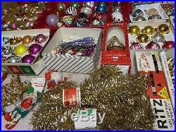Huge Lot Vintage Glass Christmas Ornaments Shiny Brite Mercury Glass + More