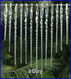 Icicles of Hand Blown Glass 13 Christmas Tree Ornaments