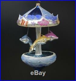 Italian Mercury Glass Carousel XL Christmas Ornament Dolphins Radko Style Nib