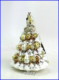 Jay Strongwater Golden Peacock Tree Glass Christmas Ornament New Box
