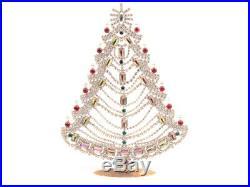 Large Czech free standing glass rhinestone candle Christmas tree ornament AB