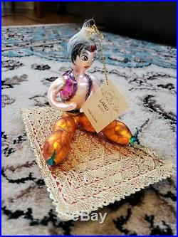 Laved Aladdin On Magic Carpet Italian Mercury Glass Christmas Ornament