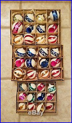 Lot Of Vintage Glass Mica Christmas Ornaments Poland, Assorted Beautiful Sets