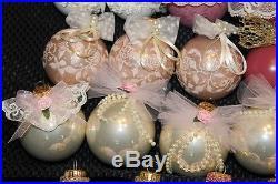 lot of 43 victorian handmade shabby chic style glass christmas ball ornaments - Handmade Shabby Chic Christmas Decorations